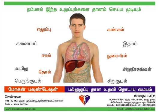 Poster of Organs that can be donated